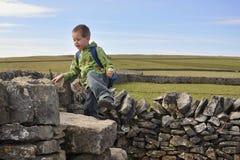 Engels platteland: jongen die drystonemuur beklimt Stock Afbeeldingen