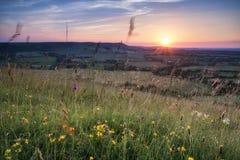 Engels plattelands landelijk landschap in het licht van de de Zomerzonsondergang Stock Foto