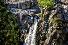 Engels Rocky Mountainous Scene met Bomen en Struiken en Waterval stock fotografie