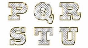 Engelse alfabet gouden vectorillustratie Stock Afbeelding