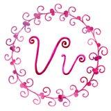 Engelse alfabetbrief V, die op een witte achtergrond, in een elegant met de hand geschreven kader wordt ge?soleerd, De tekening v stock illustratie