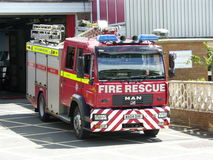 Engelse Brandvrachtwagen stock fotografie