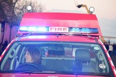 Engelse Brandvrachtwagen stock afbeeldingen