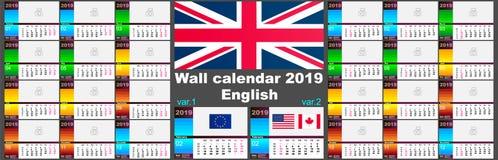 Engelse de muurkalender van 2019 Twee malplaatjes van ISO 8601 voor Europa en de V.S. Canada met week nummering Vector stock illustratie