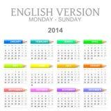Engelse de versie mon zon ? van de 2014 kleurpotlodenkalender royalty-vrije illustratie