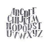 Engelse die hand abc van a aan z wordt getrokken De hoofddiedoopvont met bonen en serif, verfraaid broedselalfabet wordt gemaakt, Royalty-vrije Stock Afbeelding