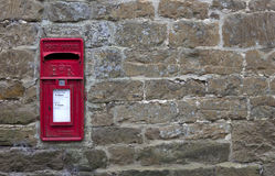 Engelse dorpspostbus Royalty-vrije Stock Foto