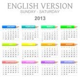 Engelse gezeten de versiezon van de 2013 kleurpotlodenkalender - stock illustratie