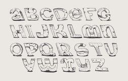Engelse hand getrokken funky doopvont van a aan z De kalligrafie maakte met bonen, verfraaid die grunge alfabet, in stijl uit de  Stock Foto
