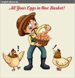 Engelse idiomatische uitdrukking die een landbouwer tonen die een baske van eieren houden royalty-vrije illustratie