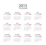 Engelse kalender 2015 vector illustratie