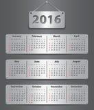 2016 Engelse kalender Stock Foto