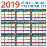 Engelse kalender 2019 Reeks -, Amerikaans, Spaans, Duits, Portugees, Frans, Italiaans, Russisch, Nederlands stock illustratie