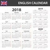 Engelse Kalender voor 2018, 2019 en 2020 Planner, agenda of agendamalplaatje Het begin van de week op Maandag Royalty-vrije Stock Afbeeldingen
