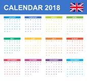 Engelse Kalender voor 2018 Planner, agenda of agendamalplaatje Het begin van de week op Maandag Royalty-vrije Stock Foto