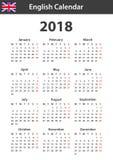 Engelse Kalender voor 2018 Planner, agenda of agendamalplaatje Het begin van de week op Maandag Stock Afbeeldingen