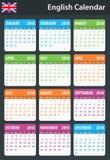 Engelse Kalender voor 2018 Planner, agenda of agendamalplaatje Het begin van de week op Maandag Royalty-vrije Stock Fotografie