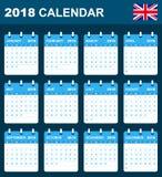 Engelse Kalender voor 2018 Planner, agenda of agendamalplaatje Het begin van de week op Maandag Stock Afbeelding