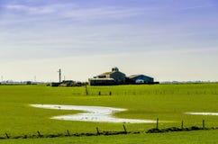 Engelse landbouwbedrijf en landbouwgrond na vloed Royalty-vrije Stock Foto's
