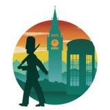 Engelse militair, rode telefooncel en de Big Ben, beroemd oriëntatiepunt stock illustratie