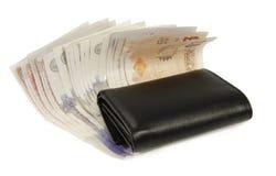 Engelse munt en portefeuille stock afbeeldingen