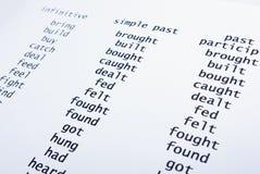 Engelse onregelmatige werkwoorden Stock Foto