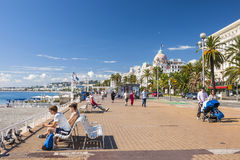 Engelse promenade in Nice Stock Foto