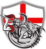 Engelse Ridder Fighting Dragon England Flag Shield Retro Royalty-vrije Stock Foto's