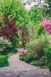 Engelse tuin in de Lente Mooie mening met bloeiende bomen en struiken stock fotografie