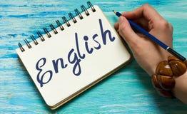 Engelse woorden die onderwijsconcept leren stock foto's