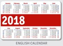 Engelse zakkalender voor 2018 Stock Afbeelding