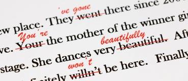 Engelse zinnen met rode pen Stock Afbeelding
