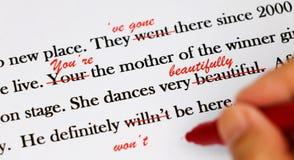 Engelse zinnen met rode pen Stock Foto's