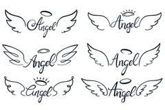 Engelsflügelbeschriften Himmelsflügel, himmlische geflügelte Engel und heiliger Flügelskizzenvektorillustrationssatz lizenzfreie abbildung