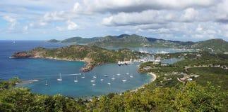 Engelsk hamn och Nelsons varv, Antigua och Barbuda, Carib Arkivbilder