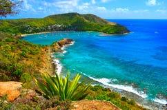Engelsk hamnutkik, Antigua, västra Indies arkivbild
