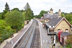 engelsk järnväg station Royaltyfria Foton