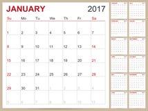 Engelsk kalender 2017 stock illustrationer