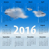 Engelsk kalender för 2016 år med moln Arkivbild