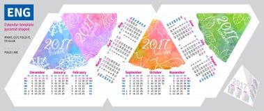 Engelsk kalender 2017 för mall vid den formade säsongpyramiden Royaltyfria Bilder
