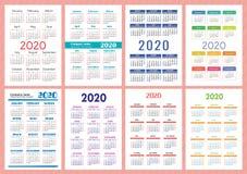 Engelsk kalender 2020 ?r Färgrik fackkalenderuppsättning Vektormallsamling Veckastarter p? s?ndag royaltyfri illustrationer