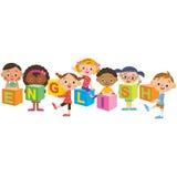 Engelsk konversation och barn stock illustrationer