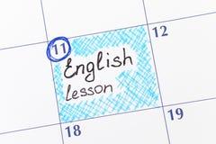 Engelsk kurs för påminnelse i kalender royaltyfri foto