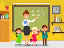 Engelsk kurs i skola stock illustrationer