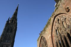 engelsk midlands för domkyrka spire Arkivfoto