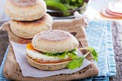 Engelsk muffin med ägget för frukost Arkivfoto