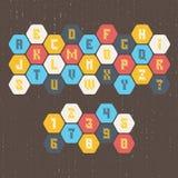Engelsk retro alfabet- och nummerstilsort Arkivbilder