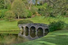 Engelsk trädgård för landshus på Stourhead arkivfoto