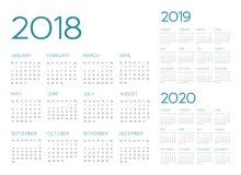 Engelsk vektor för kalender 2018-2019-2020 vektor illustrationer