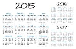 Engelsk vektor för kalender 2015-2016-2017 Arkivfoto